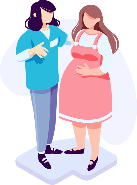 Illustration of healthcare professional advising a pregnant lady