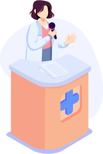 Illustration of healthcare professional standing at podium with microphone