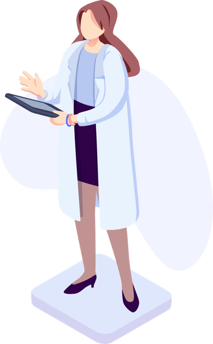 Illustration of doctor reviewing a list of candidates