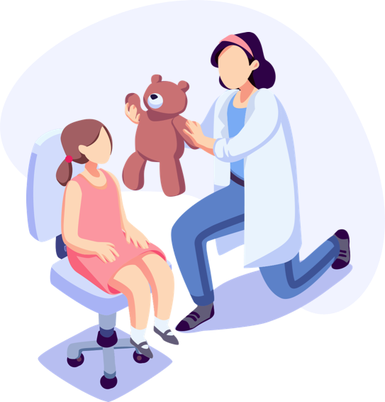 Illustration of doctor handing child a teddy bear